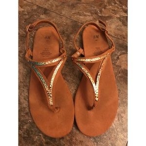 H&M Strappy Tan Sandals with Metal Accent